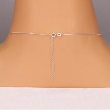 Srebrna ogrlica - pentlja z okroglim cirkonom na verižici