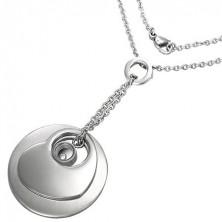 Komplet verižice in obeskov - disk, srce in kamenček na prstanu