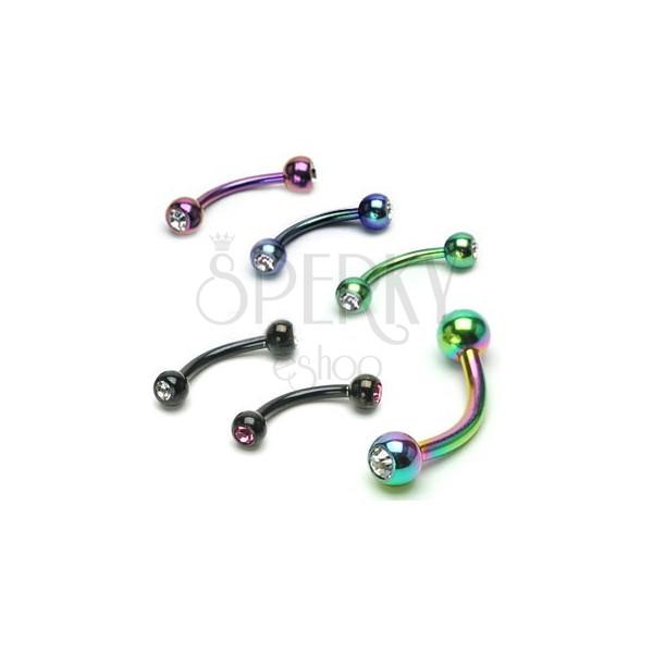 Zavit piercing za obrvi iz anodiziranega titana s cirkonoma