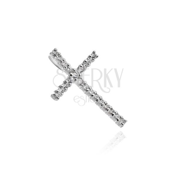 Srebrn obesek - velik križ z lesketajočimi se cirkoni