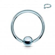 Piercing iz titana - obroček s sijočo kroglico v sredini