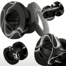 Akrilni tunel za uho, črno-bel marmoren vzorec